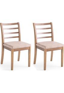 Conjunto Com 2 Cadeiras De Jantar Teca Marrom Claro E Imbuia