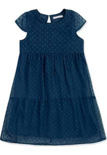 Vestido Infantil Menina Em Tecido Chiffon Maquinetado Hering Kids