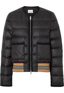 Burberry Icon Stripe Detail Down-Filled Puffer Jacket - Preto