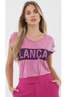 Camiseta Lança Perfume Aplicações Rosa - Kanui