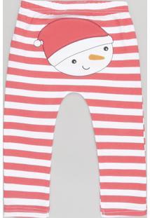 Calça Listrada Boneco De Neve Em Algodão + Sustentável Vermelha