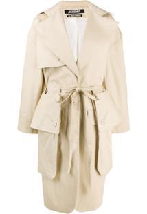 Jacquemus Trench Coat Oversized Com Bolsos - Neutro