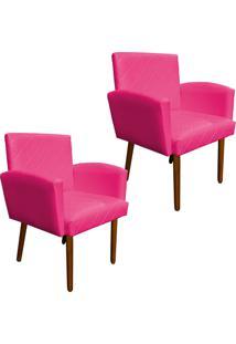 Kit 02 Poltronas Decorativa Veronês Para Sala E Recepção Corino Pink - D'Rossi