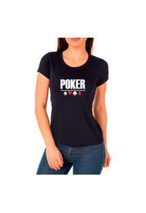 Camiseta Feminina Algodão Poker Confortável Leve Casual Preto