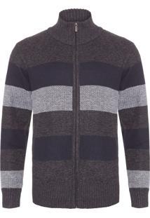 Casaco Masculino Suéter Listrado - Cinza