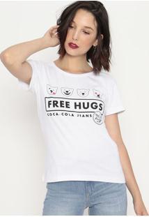 "Camiseta ""Free Hugs""- Branca & Preta- Coca-Colacoca-Cola"