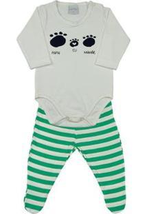 Pijama Infantil Ano Zero Cotton E Malha Listrada Capri Papai-Eu-Mamãe Masculino - Masculino-Verde