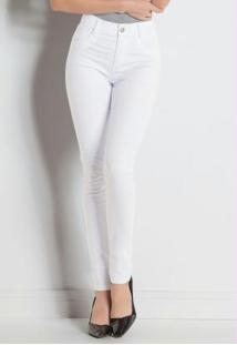 Calça Hot Pant Branca Sawary Com Cintura Alta