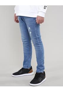 Calça Jeans Infantil Skinny Com Rasgos Azul Médio