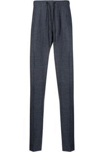 Emporio Armani Striped Drawstring-Waist Trousers - Azul