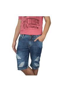 Bermuda Jeans Masculina Ecxo Azul Rasgada