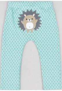 Calça Infantil Porco Espinho Estampada Verde