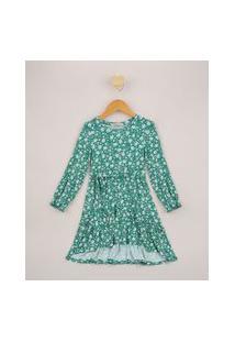 Vestido Infantil Midi Tal Mãe Tal Filha Estampado Floral Com Faixa Para Amarrar Manga Longa Verde