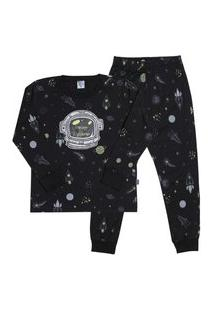 Pijama Meia Malha - 46582-263 - (4 A 10 Anos) Pijama Rotativo Preto - Infantil Menino Meia Malha Ref:46582-263-4