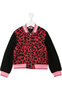 Nº21 Kids Animal Print Bomber Jacket - Preto