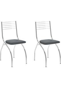 Kit 2 Cadeiras 146 Jeans/Cromado - Carraro Móveis