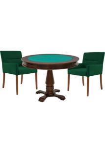 Mesa De Jogos Carteado Victoria Redonda Tampo Reversível Imbuia Com 2 Cadeiras Vicenza Verde - Gran Belo