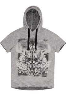 Camiseta Masculina Flamê Caveira Com Capuz Mescla Grafite