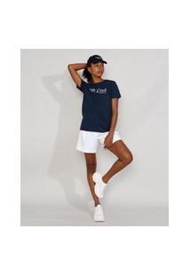 "T-Shirt Feminina Mindset ""Stay Cool"" Manga Curta Decote Redondo Azul Marinho"