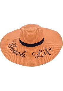 Chapã©U De Praia Bali Beach Com Beach Life Laranja - Laranja - Feminino - Dafiti