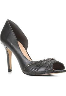 Peep Toe Couro Shoestock Tachas Salto Fino - Feminino-Preto