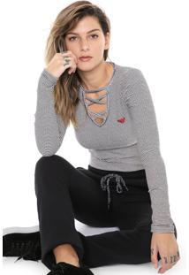 Camiseta Roxy Choker Like Pop Off-White/Preta