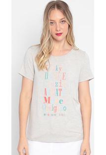 """Camiseta """"Obrigado"""" - Cinza & Vermelha- My Favorite My Favorite Things"""