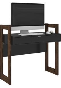 Mesa Escrivaninha Tecno Mobili Az-1007 1 Gaveta Preta E Nogal