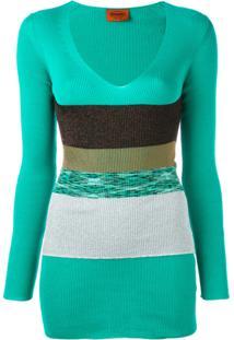 Missoni Vestido De Tricô Com Decote - Green