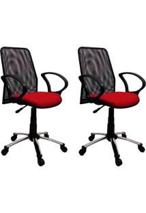 Conjunto 2 Cadeiras De Escritório Tela Diretor Giratória Cromada E Vermelha