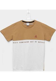 Camiseta Infantil Kamylus Meia Malha Create Masculina - Masculino-Marrom+Branco