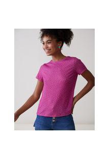 Amaro Feminino Camiseta Estampada Special, Pink Mini Dots