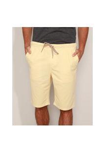 Bermuda De Sarja Masculina Slim Com Bolsos E Cordões Amarela