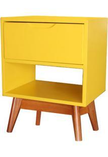 Criado Mudo Imperio Com 1 Gaveta Amarelo Base Madeira Pinhao - 52940 Sun House