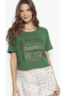 "Camiseta Cropped ""British"" - Verde & Bronze - Lanã§A Lanã§A Perfume"