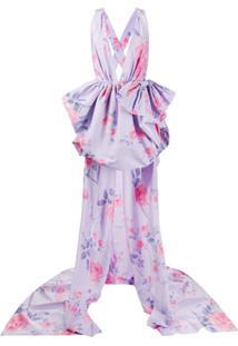Philosophy Di Lorenzo Serafini Vestido Assimétrico Com Estampa Floral - Roxo