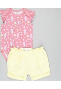 Conjunto Infantil De Body Estampado Sem Manga Rosa + Short Amarelo
