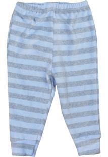 Calça De Bebê Plush Listrado Sem Pé Azul Azul - Kanui