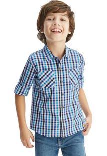 Camisa Azul Xadrez Tricoline