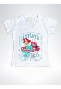 Camiseta Feminina Gola V Surf Cool Tees Sereias Em Conservas Branca - Branco - Feminino - Algodã£O - Dafiti