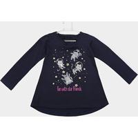 57db500f2c Blusa Infantil Elian Gatinhos Manga Longa - Feminino-Azul Escuro