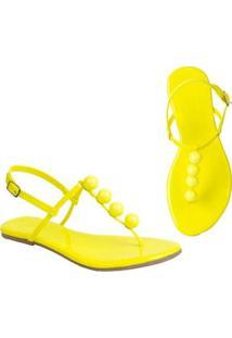 Rasteira Flat Bolinhas Mercedita Shoes Confortável Dia A Dia Casual - Feminino-Amarelo