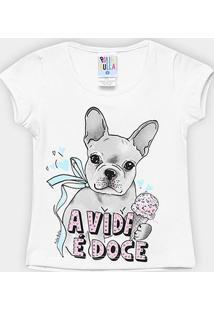 Blusa Infantil Pulla Bulla Cotton Dog Feminina - Feminino-Branco