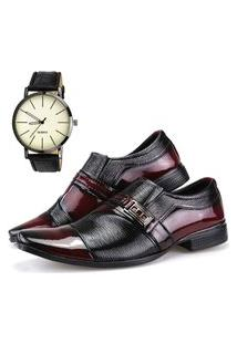 Sapato Social Neway Vinho + Relógio