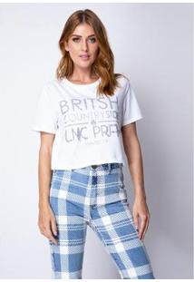 Cropped T-Shirt Estampada Lança Perfume Feminino - Feminino-Branco