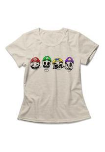 Camiseta Feminina Mario Skulls Bege