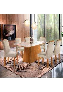 Conjunto De Mesa De Jantar Com 6 Cadeiras Sevilha L Jacquard Off White E Bege