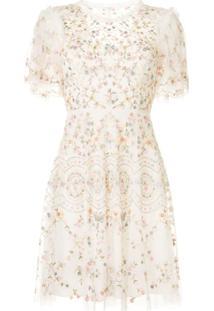 Needle & Thread Vestido Com Bordado Sweet Petal - Branco