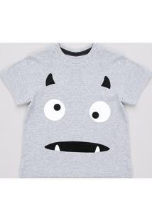 Camiseta Infantil Halloween Monstro Manga Curta Cinza Mescla