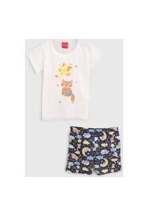 Pijama Tricae Curto Infantil Raposinha Off-White/Azul-Marinho